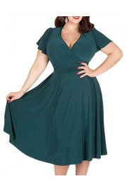 ZAFUL Women Plus Size V-Neck Casual Midi Swing Bridesmaid Evening Cocktail Party Dress - My look - $26.99