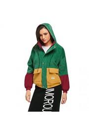 ZAFUL Women's Corduroy Loose Hooded Jacket Vintage Color Blocking Raglan Sleeve Casual Coat Windbreaker - Moj look - $33.99  ~ 215,92kn