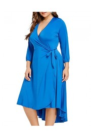 ZAFUL Womens Plus Size Deep V Neck Bodycon Wrap Dress with Front Slit - My look - $15.99