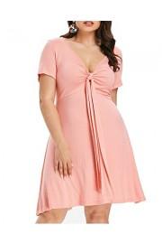 ZAFUL Womens Plus Size Dress Short Sleeves High Waist Swing Casual Dress XL-4XL - My look - $18.99