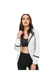 ZAFUL Women's Stripe Hooded Panel Windbreaker Casual Drawstring Zip up Sports Lightweight Jacket - Myファッションスナップ - $18.59  ~ ¥2,092