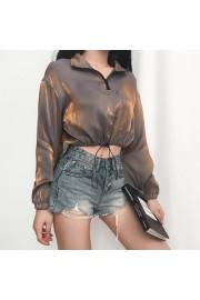 Zipper POLO collar drawstring waist long - Mi look - $25.99  ~ 22.32€
