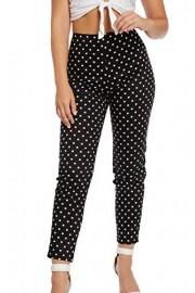 &harmony Women's Skinny Fit Pants - Trendy Black and White Colored Polka Dot - Mi look - $23.99  ~ 20.60€