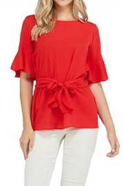 iconic luxe Women's Bell Sleeve Waist Tie Blouse - Il mio sguardo - $43.00  ~ 36.93€