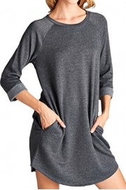 iconic luxe Women's French Terry Raglan Tunic Dress with Pockets - Il mio sguardo - $50.00  ~ 42.94€