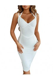 whoinshop Club V Neck Strappy Halter Party Bodycon Bandage Dress - Moj look - $49.99  ~ 317,57kn