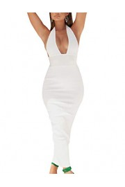 whoinshop Women's Halter Sexy V Neck Backless Bodycon Bandage Evening Wedding Party Long Dresses - Mój wygląd - $45.00  ~ 38.65€