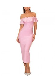 whoinshop Women's Lilac Fluted Off Shoulder Mid-Calf Flounce Evening Bandage Dress ... - Mój wygląd - $53.00  ~ 45.52€