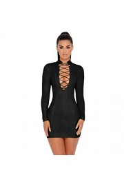 whoinshop Women's Long Sleeves Lace Up Open Front High Neck Clubwear Mini Party Bandage Dress - Moj look - $61.00  ~ 52.39€