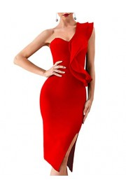 whoinshop Women's One Shoulder Side Split Celebrity Cocktail Party Bandage Dress - Mein aussehen - $48.99  ~ 42.08€