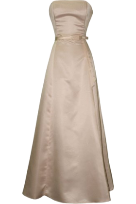 PacificPlex Dresses -  50's Strapless Satin Long Gown Bridesmaid Prom Dress Holiday Formal Junior Plus Size Champagne