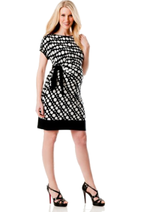 Donna Morgan Dresses -  A Pea in the Pod: Donna Morgan Short Sleeve Tie Detail Maternity Dress Dot Multi Print