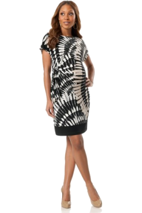 Donna Morgan Dresses -  A Pea in the Pod: Donna Morgan Short Sleeve Tie Detail Maternity Dress Multi Print