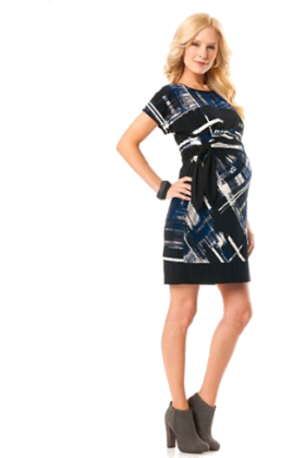 Donna Morgan Dresses -  A Pea in the Pod: Donna Morgan Short Sleeve Tie Detail Maternity Dress Print