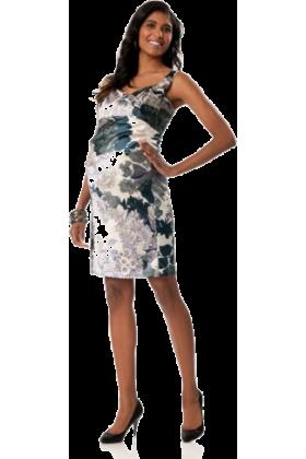Donna Morgan Dresses -  A Pea in the Pod: Donna Morgan Sleeveless Empire Waist Maternity Dress Blue Floral Print