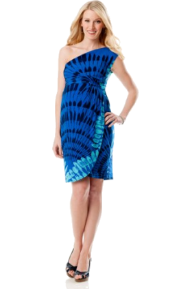 Donna Morgan Dresses -  A Pea in the Pod Collection: Donna Morgan Sleeveless Empire Seam Maternity Dress Blue Print