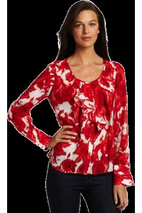 AK Anne Klein Long sleeves shirts -  AK Anne Klein Women's Abstract Rose Print Longsleeve Blouse Multi