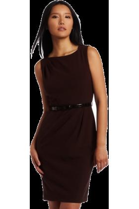AK Anne Klein Dresses -  AK Anne Klein Women's Asymmetrical Neck Belted Sheath Dress Mahogany
