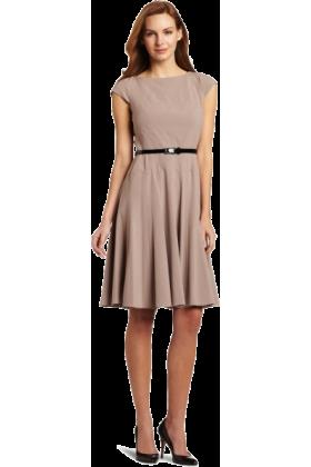 AK Anne Klein Dresses -  AK Anne Klein Women's Diagonal Seam Bi-Stretch Dress With Full Skirt Froth