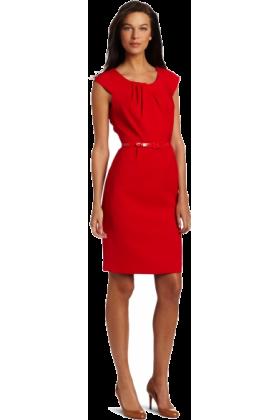 AK Anne Klein Dresses -  AK Anne Klein Women's Double Weave Dress Red Poppy