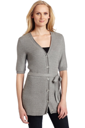 AK Anne Klein Cardigan -  AK Anne Klein Women's Elbow Sleeve Button Front Cardigan Light Charcoal