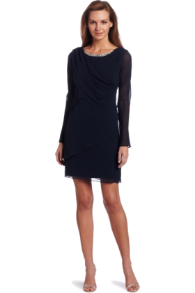 AK Anne Klein Dresses -  AK Anne Klein Women's Evan Picone Detailed Neckline Georgette Tier Dress Navy