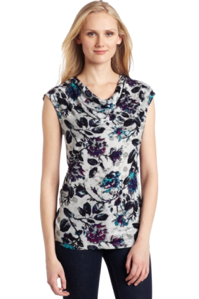 AK Anne Klein Shirts -  AK Anne Klein Women's Floral Extended Shoulder Cowl Neck Pullover Deep Sea Combo