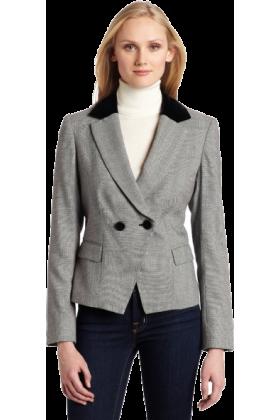 AK Anne Klein Jacket - coats -  AK Anne Klein Women's Herringbone 2 Button Blazer Black/Sugar