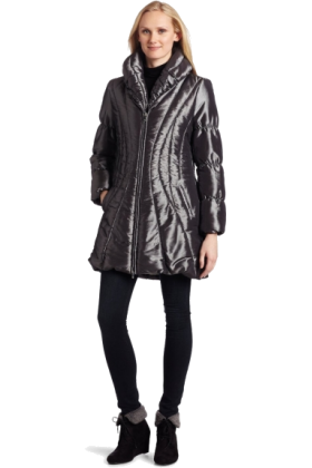 AK Anne Klein Jacket - coats -  AK Anne Klein Women's Irridescent Puffer Coat Black/Silver