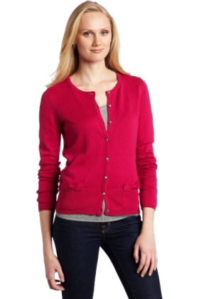 AK Anne Klein Cardigan -  AK Anne Klein Women's Long Sleeve Crew Neck Cardigan with Bow Detail Hot Pink
