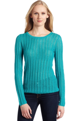 AK Anne Klein Long sleeves shirts -  AK Anne Klein Women's Long Sleeve Pointelle Crew Neck Top deep sea