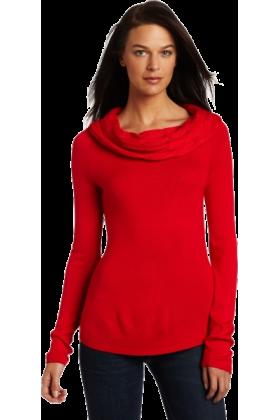 AK Anne Klein Long sleeves shirts -  AK Anne Klein Women's Longsleeve Cable Drape Neck Sweater Red Poppy