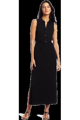AK Anne Klein Dresses -  AK Anne Klein Women's Maxi Shirt Dress Black