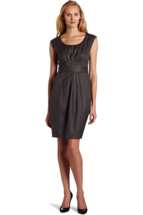 AK Anne Klein Dresses -  AK Anne Klein Women's Petite Menswear Fitted Dress Medium Charcoal