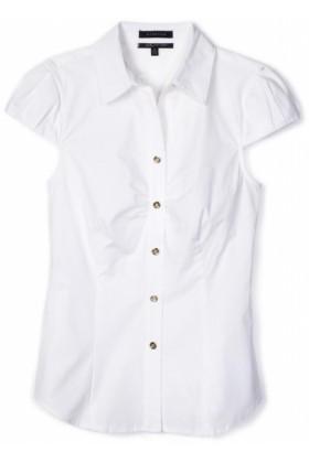 AK Anne Klein Shirts -  AK Anne Klein Women's Petite Short Sleeve Button Down Shirt White