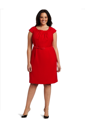 AK Anne Klein Dresses -  AK Anne Klein Women's Plus Size Double Weave Dress Red Poppy