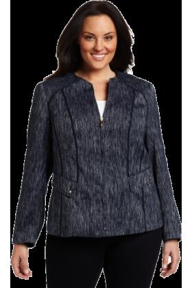 AK Anne Klein Jacket - coats -  AK Anne Klein Women's Plus Size Slubby Zip Front Jewel Neck Jacket Midnight Sky