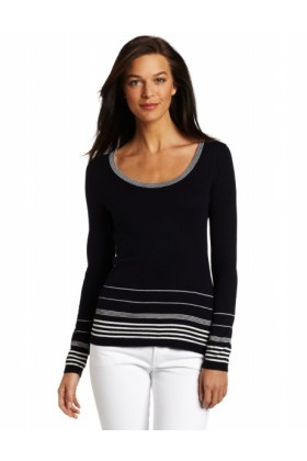 AK Anne Klein Pullovers -  AK Anne Klein Women's Pullover with Placement Stripe Midnight Sky