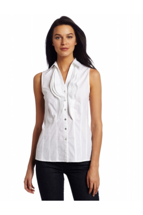 AK Anne Klein Shirts -  AK Anne Klein Women's Solid Button Front Shirt White