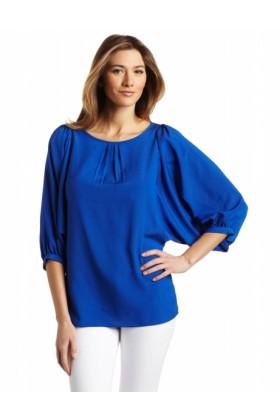 AK Anne Klein Long sleeves shirts -  AK Anne Klein Women's Solid Longsleeve Blouse Cobalt