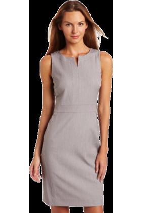 AK Anne Klein Dresses -  AK Anne Klein Women's Split Neck Shift Dress Pale Grey Heather