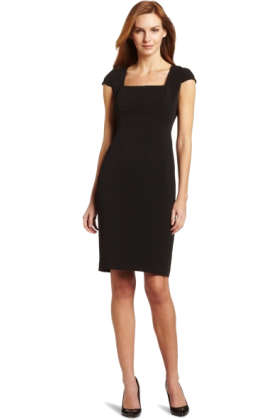 AK Anne Klein Dresses -  AK Anne Klein Women's Stretch Tech Square Neck Sheath Dress Black