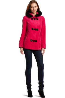 AK Anne Klein Jacket - coats -  AK Anne Klein Women's Toggle Coat Hot Pink