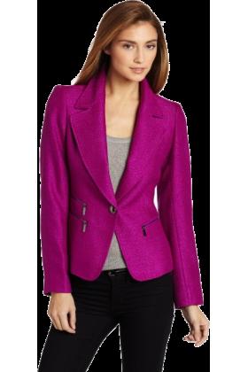AK Anne Klein Jacket - coats -  Ak Anne Klein Women's Petite 1 Button Blazer Raisin