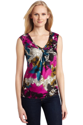 AK Anne Klein Shirts -  Ak Anne Klein Women's Petite Abstract Floral Sleeveless Blouse Multi