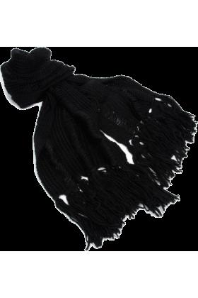 AK Anne Klein Scarf -  Ak Anne Klein Women's Solid Running Stitch Muffler Black