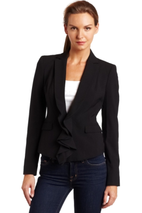 AK Anne Klein Jacket - coats -  Ak Anne Klein Women's Zip Front Blazer Black