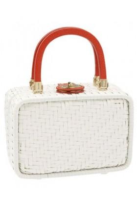 kate spade NEW YORK Clutch bags -  Kate Spade Straw Miramar Alison Basket Satchel Bag Tote White Red Trim