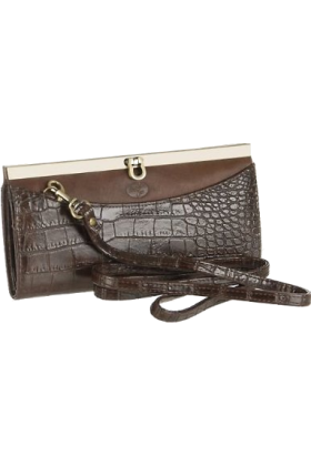 Buxton Clutch bags -  Buxton Croco Framed Clutch BROWN