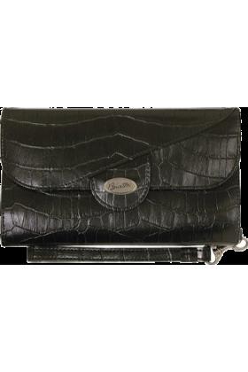 Buxton Carteras tipo sobre -  Buxton Stella Croco Framed Strap Clutch Black